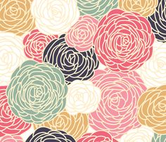 vintage inspired seamless floral pattern with colorful roses fabric by fleurpaperco on Spoonflower - custom fabric