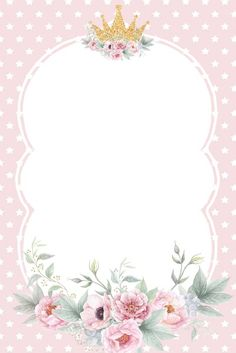 Pin by Veronica Estrada on Baby shower niña Wedding Invitation Background, Flower Invitation, Girl Birthday Decorations, Flower Phone Wallpaper, Baby Frame, Baby Unicorn, Flower Frame, Watercolor Flowers, Baby Shower Invitations