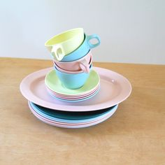 Vintage Melmac Dinnerware  Pink and Pastels Mallo Ware Melamine (16.00 USD) by lisabretrostyle2