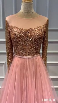 Rose Gold Sequined A-line Evening Dresses.**Rush order please contact us ** Processing time business days after payment . Source by dresses videos Long Gown Dress, A Line Evening Dress, The Dress, Evening Dresses, Indian Evening Gown, Party Wear Dresses, Prom Dresses, Formal Dresses, Party Wear Lehenga