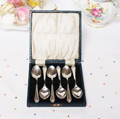Boxed set of 6 silver plated teaspoons spoons: Nestled in their own  little box, lovely for afternoon tea. by Annesvintagedelights on Etsy