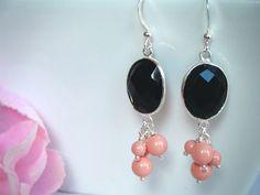 Black Onyx & pink coral pearls!