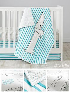 Our Early Edition Crib Bedding is adorned with charming, stylized words, as well as your little one's favorite pets. The baby quilt is lightly quilted and made from 100% cotton percale, while the crib sheet and toddler sheet set features animals, words, Swiss dots or stripes. Plus, the matching crib skirt will surely add the finishing touch.