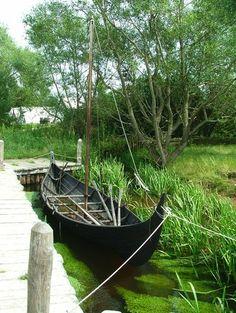 Small viking boat at Ribe Viking centre, Denmark