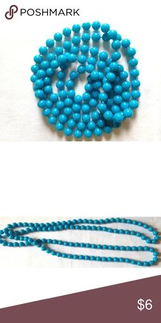 "Vintage Long Blue Beaded Necklace 52"" Vintage Long Blue Beaded Necklace Plastic Light Weight 52""   In good clean vintage condition.  Has no identifying markings.  I try my best to capture the correct color/shade but the actual shade may vary.  Thank you so much! Unknown Jewelry Necklaces"