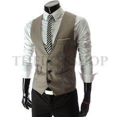 2018 Vicabo Dress V Neck Formal Business Casual Men Vest Chain Suit Slim Fit  Sleeveless Waistcoat 57c1fd05777