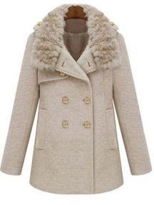 Fur Collar Double-breasted Woolen Coat