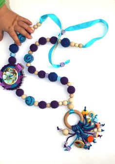 Organic Breastfeeding necklace, Blue and purple nursing necklace with button and wooden ring of pendant,Teething Necklace