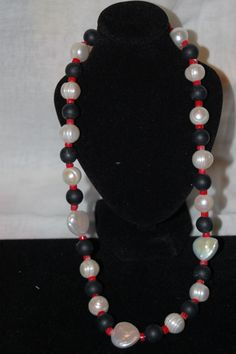 Freshwater Pearls, Matte Black Onyx, Coral with Sterling Silver Clasp