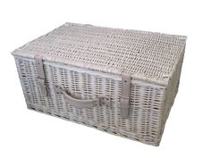 Provence White Wash Wicker Storage Hamper Basket made from willow. This wicker basket is perfect for use as a hamper basket, picnics or storage. Wicker Storage Trunk, Wicker Hamper, Hamper Basket, Wicker Shelf, Wicker Tray, Wicker Table, Wicker Furniture, Storage Baskets, Wicker Couch
