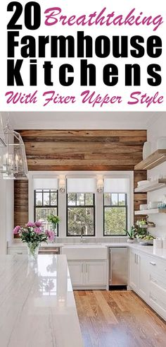 Home Remodeling Fixer Upper 20 Breathtaking Farmhouse Kitchens With Fixer Upper Style Country Kitchen Cabinets, Country Kitchen Farmhouse, Kitchen Cabinet Styles, Farmhouse Design, Farmhouse Kitchens, Farmhouse Cabinets, Kitchen White, Farmhouse Plans, French Farmhouse