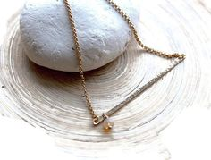 Gold Bar necklace with Opal Ethiopian Fire Opal by EverywhereUR