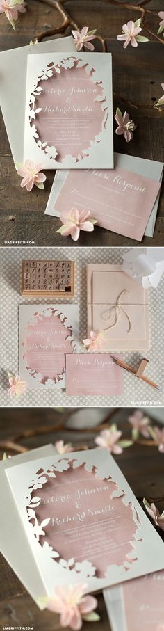 Spring Blossom Printable Wedding Invitations at www.LiaGriffith.com #diywedding #weddinginvite