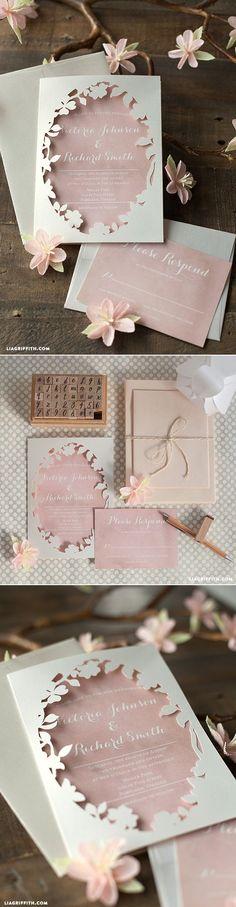 Spring Blossom Printable Wedding Invitations at www.LiaGriffith.com #diywedding #weddinginvite