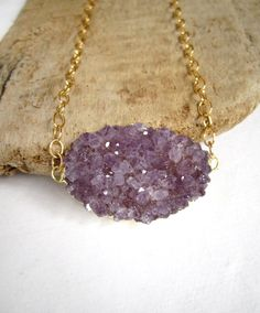 Amethyst Druzy Necklace Drusy Quartz 14K Gold Fill Open Link Chain. via Etsy.