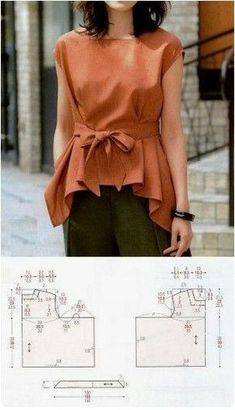 Sewing Blusas make it a bit longer, and in a fabric that drapes (rayon) - Blouse Patterns, Clothing Patterns, Blouse Designs, Make Your Own Clothes, Diy Clothes, Clothes For Women, Sewing Dress, Mode Kimono, Sewing Blouses