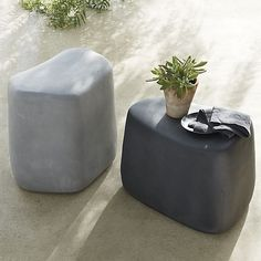 "Boulder-inspired stools rock on the patio or in the garden as side tables, extra seats or landscape accents. Rounded, organic shapes in stony shades not only look natural; they are crafted with the latest in eco-friendly materials and methods. Molded of mineral compounds, salt, sand and fiber, stools are manufactured with minimal energy use and once discarded will degrade back to their natural components. Impervious to weather, UV radiation, temperature fluctuations, mold and pests, these unique, all-weather ""stones"" offers years of solid enjoyment."