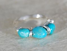 Genuine Turquoise Ring, Stone Ring, Sterling Silver Wire Wrapped Ring