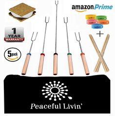 Peaceful Livin' Marshmallow Roasting Sticks for Smores  Anti-Mosquito Bracelets / 20 Bamboo Skewers - Family Campfire Bundle BBQ Kabobs Set - 32' Long Extending Telescopic Hot Dog Roaster Forks ** Continue to the product at the image link.