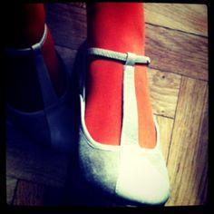 Orange tights, retro shoes