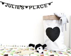 LOVE // white paper bag hand painted storage door makeitbylotsofjess