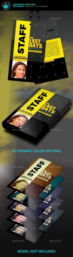Conference Event Pass Template — Photoshop PSD #name tag #staff • Available here → https://graphicriver.net/item/conference-event-pass-template/12072343?ref=pxcr