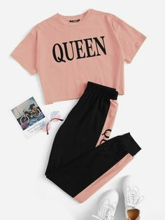 Cute Lazy Outfits, Crop Top Outfits, Pretty Outfits, Stylish Outfits, Hip Hop Outfits, Stylish Dresses, Girls Fashion Clothes, Teen Fashion Outfits, Outfits For Teens