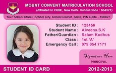 School ID Card - Horizontal Student ID card Design by Webbience, Coimbatore Identity Card Design, Id Card Design, School Id, High School, Model School, School Uniform, Public School, Id Card Template, Card Templates