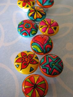 EYE POPPIN COLOR hand painted porcelain knobs 10. $60.00, via Etsy.
