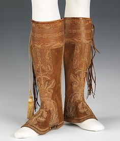 Gaiters  Date: late 19th century Culture: Spanish Medium: leather, metal, silk  Metropolitan Museum of Art