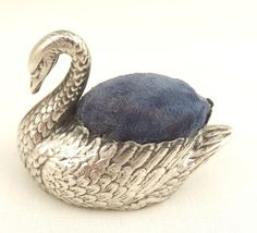 Antique silver swan pin cushion Birmingham 1906