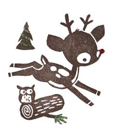 Rudolph.  Handcarved rubber stamp by Tricia Tharp.