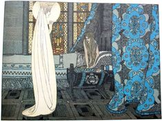 """Heinrich Lefler illustration for the fairy tale """" Swineherd """""""