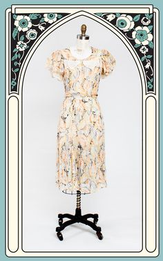 Colorful 1930s Sheer Cotton Voile Leaf Print Day Dress