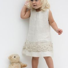 Toddler Girls Pure Natural Linen and Lace Dress-Baby Sundress ...
