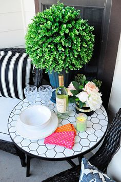 Decor ideas and inspiration on how to maximize style and space in a small space or apartment patio with some gorgeous finds from Walmart. #BHGLiveBetter #ad