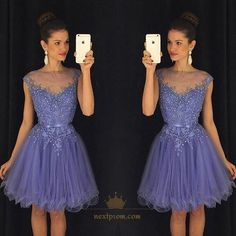 Lovely Short Tulle Homecoming Dresses 2017 New Cap Sleeve Appliques Beads Girls Prom Cocktail Party Gowns Short Graduation Dresses, Homecoming Dresses 2017, Cute Prom Dresses, Dresses Short, Girls Dresses, Lavender Homecoming Dress, Cocktail Vestidos, Cocktail Dresses, Ruffles