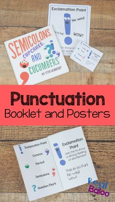 These punctuation small books and posters are great for kids who need a gentle reminder on what marks to use! Plus they are fun and colorful. Punctuation Activities, Teaching Punctuation, Punctuation Posters, Phonics Games, Reading Genre Posters, Teaching Language Arts, Learn To Read, Teaching Kids, Booklet