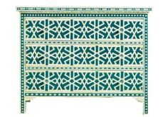 New Surrealz Bone Inlaid Sideboard Chest of Drawers in green with abstract aztec, geometric star pattern.  Also available in Mother of Pearl inlay options and other colours.