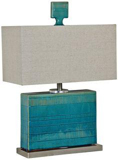 Crestview Glade Turquoise Square Ceramic Table Lamp - #8V288   Lamps Plus