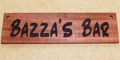 Bar sign custom engaved with your text with options for image or photo example shown Australian red gum