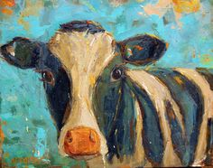 LARGE Original Cow Oil Painting BESSIE BOO 16x20 by BethCapogrossi