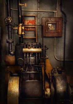 Steampunk - Back In The Engine Room Canvas Print / Canvas Art By Mike Savad Steampunk Accessoires, Mode Steampunk, Steampunk House, Steampunk Fashion, Steampunk Bar, Steampunk Crafts, Steampunk Couture, Steampunk Interior, Steampunk Furniture