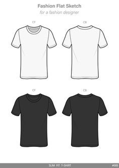 Slim Fit Tee Shirt Fashion Flat Technical Drawing Vector Template Style Designer Arel Clothes Haydenkoo Design