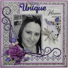Pretty purple layout with lots of bling, flowers and flourishes. #scrapbook #layout #purple #flourish #flowers #dragonfly #scrapbooking