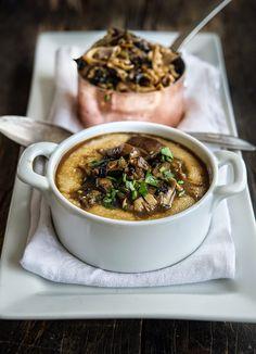 Wild Greens and Sardines : Mushrooms with Amaranth 'Polenta' Winter Savory, Winter Food, Side Recipes, Clean Recipes, Grain Foods, Vegan Dishes, Vegan Food, Good Enough To Eat, International Recipes