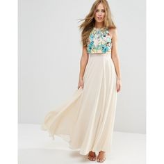 2568a0db840d1a ASOS Multicoloured Embellished Crop Top Maxi Dress (£85) ❤ liked on  Polyvore featuring
