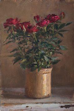 Red rose in a provençal pot. JMS 8-31-14