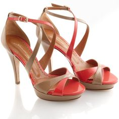 coral and nude sandals  beautiful.
