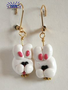 White Easter Bunny Rabbit Earrings Polymer Clay by saracom